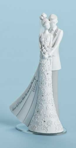 """Wedding or Anniversary Cake Topper. Dimensions:6.25""""H 3.5""""W 2""""D. Resin/Stone mix. From the """"Language of Love Collection""""."""