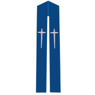 Overlay Stole with Cross Design on Blue Fabric