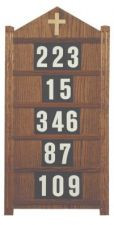 """Board for small chapels. Dimensions: 32"""" height, 16"""" width. Includes three sets of numbers. Numbers (0-9) & Letters (A-Z)  that fit boards 234, 234H, 237B & 239H, are available at an additional cost"""