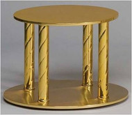 "Thabor Table Style 955 - Solid Brass plates with Satin finish and Polished Spiral Posts. Size: Round Top Level 10"", Base Level 12"" and 8-1/2"" Height"