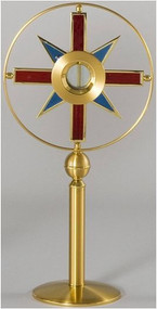 """Ostensoria Style M400, Holds a 2-3/4"""" Host in a no-track luna (friction fit). Size 27½"""" inch Height, 14¼"""" inch Head Diameter. 24k Gold plated with stain glass rays."""
