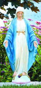 Garden statue of the Blessed Mother in detailed stain or natural cement finishes.