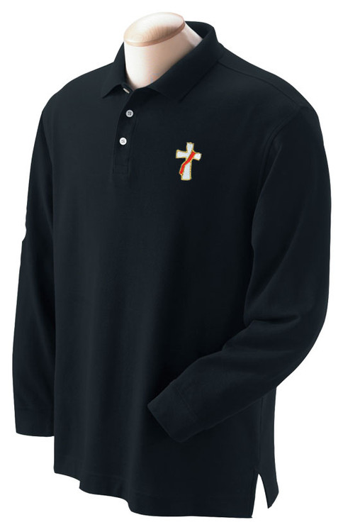 Deacon or Clergy Long Sleeve Polo Shirt-Short Sleeve 100% Combed Cotton Double Pique.  Double needle top stitching. Designer selected twill tape neck. Finished reinforced placket ~ wood tone buttons. Side seam design & extended tail. *Gray shirts 90% cotton/10%  polyester.