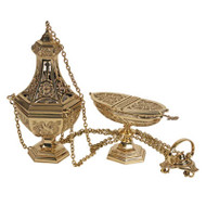 """Polished Brass, Four chain Censor and Boat. Censer measures 10 3/4""""H X 4 1/2"""" bowl.  Boat measures 4 1/2""""H.  Oval Bowl 6 1/4"""" x 2 3/4""""."""