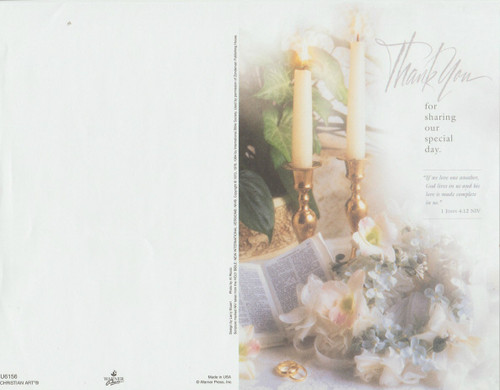 """Thank you sharing our special day. """"If we love one another, god lives in us and his love is made complete in us.""""               I John 4:12 NIV ~ Standard Wedding Bulletin. Size: 8 1/2 x 11"""" flat. Priced per pack of 100. Packaged flat 8.5"""" x 11"""" and shrink wrapped in packages of 100."""