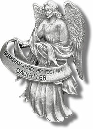 "Heavyweight oxidized pewter visor clip with polished slide to hold securely on your visor. ""Guardian Angel Protect My Daughter"""