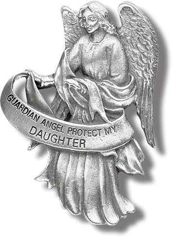"""Heavyweight oxidized pewter visor clip with polished slide to hold securely on your visor. """"Guardian Angel Protect My Daughter"""""""