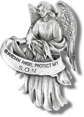 "Heavyweight oxidized pewter visor clip with polished slide to hold securely on your visor. ""Guardian Angel Protect My Son"""