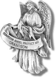 "Heavyweight oxidized pewter visor clip with polished slide to hold securely on your visor. ""Guardian Angel Protect My Grandson"""