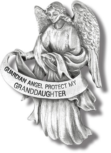 "Heavyweight oxidized pewter visor clip with polished slide to hold securely on your visor. ""Guardian Angel Protect My Granddaughter"""