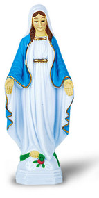 """1749-277   Our Lady of Grace-4""""  Hand Painted Plastic Auto Statues with Magnetic or Adhesive Base."""