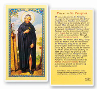 Novena Prayer to St. Peregrine. Clear, laminated Italian holy card with gold accents. Features World Famous Fratelli-Bonella Artwork. 2.5'' X 4.5''