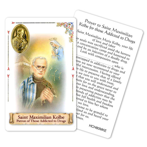 """Prayer to Maximilian Kolbe Holy Card for Drug Addiction. This beautiful patron saint card is laminated with gold foil embossed medal design with appropriate prayer on reverse side. Prayer card is made in Milana, Italy.  Measures: 2 3/8 x 3 1/2""""."""