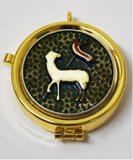 "Teca Eucharistic ""Lamb of Peace"" Complete with ring to hang it on the neck. Measures 2"" round x 1/2""H"