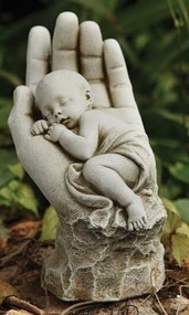 "In the Palm of His Hand Garden Statue.  Dimensions: 11.25""H x 5.75""W x 7.5""D"