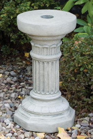 "This fluted pedestal is beautiful and a great addition to your garden. The cement pedestal is a great option for elevating your garden statues. Dimensions:  19""Height, Octagonal Base 11"",  Top Diameter 10, Weight 53lbs"