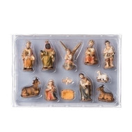 "12 piece nativity in muted colors of earth tones. Poly/resin. Each piece is approximately 2""H. Dimensions: 2""H x 0.79""W x 1.38""L. Comes with a FREE 7"" wood stable with purchase."