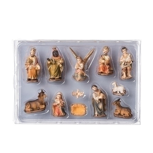 """12 piece nativity in muted colors of earth tones. Poly/resin. Each piece is approximately 2""""H. Dimensions: 2""""H x 0.79""""W x 1.38""""L."""