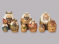 "9 Piece set of 6"" Nativity Nesting Box. Holy Family, the Three Kings and the Shepherd and Sheep. Dimensions: 5.71""H x 3.74""W x 4.13""L Materials: Resin/Dolomite"