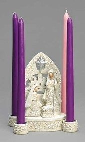 "Celebrate the holiday season with this 7"" white, classic,  papercut style Advent candle holder. The figurine at the center shows a detailed and gorgeously designed Mary and Joseph looking over baby Jesus, with an intricate backdrop behind them. The four candle holders sit on the outside, with detailed holders. The candles are sold separately and can be found here!  This Advent candle holder is made with resin and dolomite. Dimensions are: 6.89""H x 3.74""W x 5.91""L.  Candles (Item #101610)"
