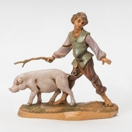 "Fontanini Polymer 5"" Scale Nativity Figures ~  Boy with Pig Figure"