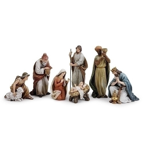 "This 7 piece nativity set is a classic addition to your Christmas decorations. The set includes baby Jesus, Mary, Joseph, the three kings, and the shepherd. This nativity set is designed with classic colors and delicate detail. Add this nativity set to your Christmas decorations today! The average height of the nativity set is 9.5 inches.  Made of resin and wollastonite powder. 9.5""H x 23.5""W x 3.5""D"