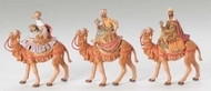 "Fontanini 5"" scale 3 piece set of King's on Camels figures. Polymer"