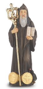 "4"" St. Benedict Hand Painted Solid Resin Statue with Gold Leaf Trim Accents and Italian Gold Stamped Prayer Card. (Deluxe Window Box)"