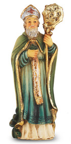 "4"" St. Patrick is hand painted and is made of a solid resin. Statue has gold leaf trim accents and Italian gold stamped prayer card. Boxed"