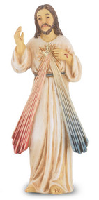 "4"" Divine Mercy is hand painted and is made of a solid resin. Statue has gold leaf trim accents and Italian gold stamped prayer card. Boxed"