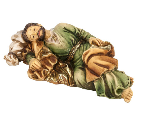 """4"""" Sleeping Joseph is hand painted and is made of a solid resin. Statue has gold leaf trim accents and Italian gold stamped prayer card. Boxed"""