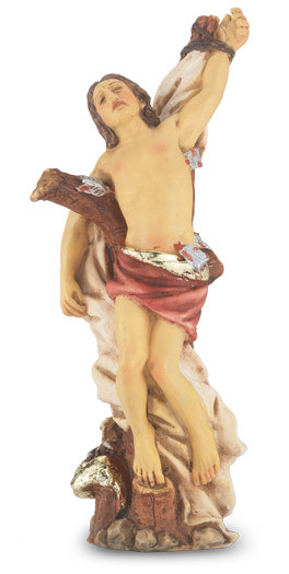 "4"" St. Sebastian, Patron of Athletes,  is hand painted and is made of a solid resin. Statue has gold leaf trim accents and Italian gold stamped prayer card. Boxed"