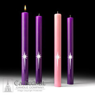 A striking way to mark the Advent journey, these candles feature a hand-applied wax ornamentation thin enough to allow for the uninterupted use of the candle follower.  Choice of 51% Beeswax  or Stearine Pillar. 3 Purple and one Rose