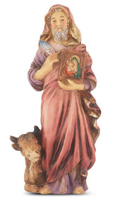 "4"" St. Luke hand painted solid resin statue with gold leaf trim accents and Italian gold stamped prayer card. (Deluxe Window Box)"