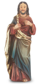 "4"" Sacred Heart of Jesus  hand painted solid resin statue with gold leaf trim accents and Italian gold stamped prayer card. (Deluxe Window Box)"