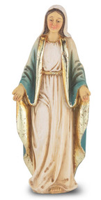 """4"""" Our Lady of Grace  hand painted solid resin statue with gold leaf trim accents and Italian gold stamped prayer card. (Deluxe Window Box)"""