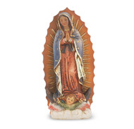 "4"" Our Lady of guadalupe  hand painted solid resin statue with gold leaf trim accents and Italian gold stamped prayer card. (Deluxe Window Box)"