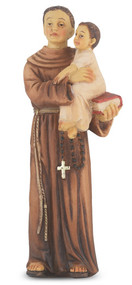 "4"" St. Anthony Hand Painted Solid Resin Statue with Gold Leaf Trim Accents and Italian Gold Stamped Prayer Card. (Deluxe Window Box)"