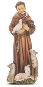 "4"" St.  Francis Hand Painted Solid Resin Statue with Gold Leaf Trim Accents and Italian Gold Stamped Prayer Card. (Deluxe Window Box)"