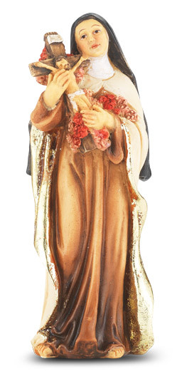 "4"" St.  Therese Hand Painted Solid Resin Statue with Gold Leaf Trim Accents and Italian Gold Stamped Prayer Card. (Deluxe Window Box)"