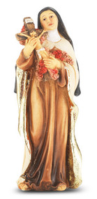 """4"""" St.  Therese Hand Painted Solid Resin Statue with Gold Leaf Trim Accents and Italian Gold Stamped Prayer Card. (Deluxe Window Box)"""
