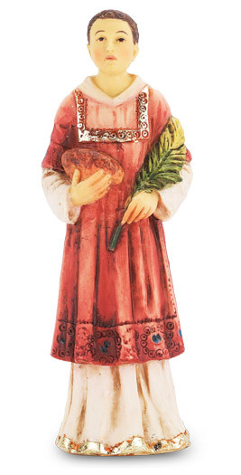 """4"""" St. Stephen Hand Painted Solid Resin Statue with Gold Leaf Trim Accents and Italian Gold Stamped Prayer Card. (Deluxe Window Box)"""