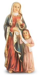 "4"" St. Anne Hand Painted Solid Resin Statue with Gold Leaf Trim Accents and Italian Gold Stamped Prayer Card. (Deluxe Window Box)"