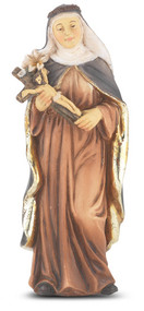 """4"""" St.  Catherine of Sienna Hand Painted Solid Resin Statue with Gold Leaf Trim Accents and Italian Gold Stamped Prayer Card. (Deluxe Window Box)"""