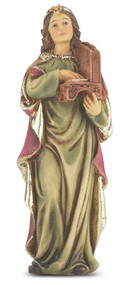 "4"" St.  Cecelia Hand Painted Solid Resin Statue with Gold Leaf Trim Accents and Italian Gold Stamped Prayer Card. (Deluxe Window Box)"
