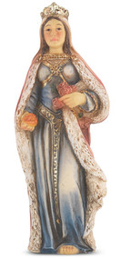"""4"""" St.  Elizabeth of Hungary Hand Painted Solid Resin Statue with Gold Leaf Trim Accents and Italian Gold Stamped Prayer Card. (Deluxe Window Box)"""