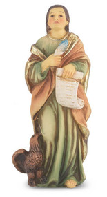 "4"" St. John the Evangelist Hand Painted Solid Resin Statue with Gold Leaf Trim Accents and Italian Gold Stamped Prayer Card. (Deluxe Window Box)"