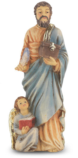 """4"""" St. Matthew statue is hand painted and is made of a solid resin. Statue has gold leaf trim accents and Italian gold stamped prayer card. Boxed"""