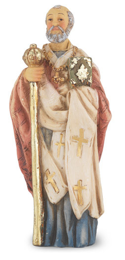 """4"""" St. Nicholas statue is hand painted and is made of a solid resin. Statue has gold leaf trim accents and Italian gold stamped prayer card. Boxed"""