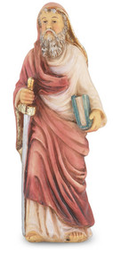 """4"""" St. Paul statue is hand painted and is made of a solid resin. Statue has gold leaf trim accents and Italian gold stamped prayer card. Boxed"""
